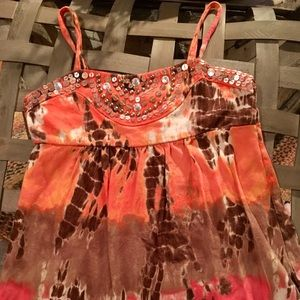JUSTICE babydoll tank with sequins and beads